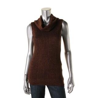 Joseph A Womens Metallic Sleeveless Pullover Sweater