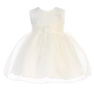 Baby Girls Ivory Organza Glitter Pleated Sash Elegant Flower Girl Dress