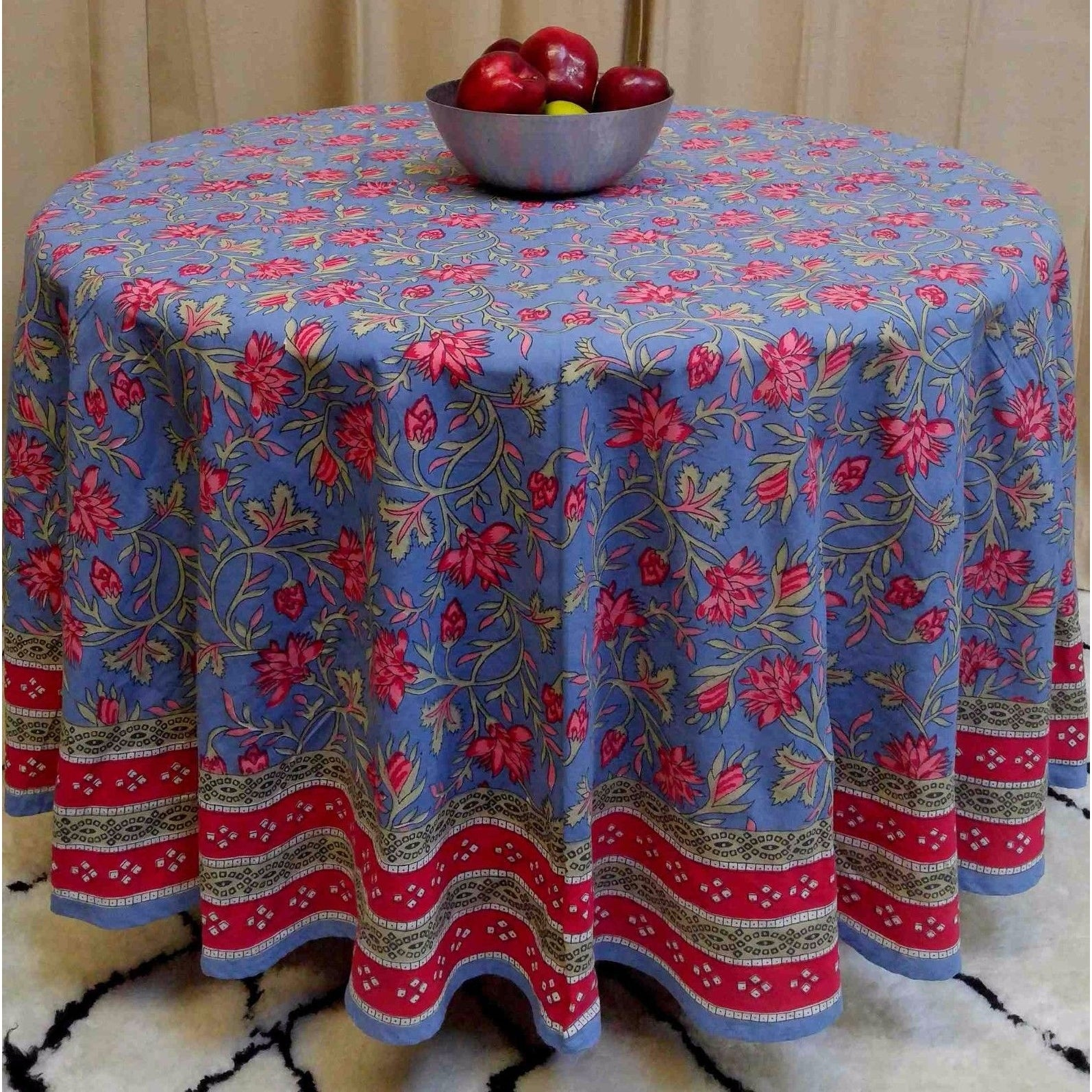 "Handmade 100% Cotton Floral Tablecloth 90"" Round Blue Red Pink - Thumbnail 0"