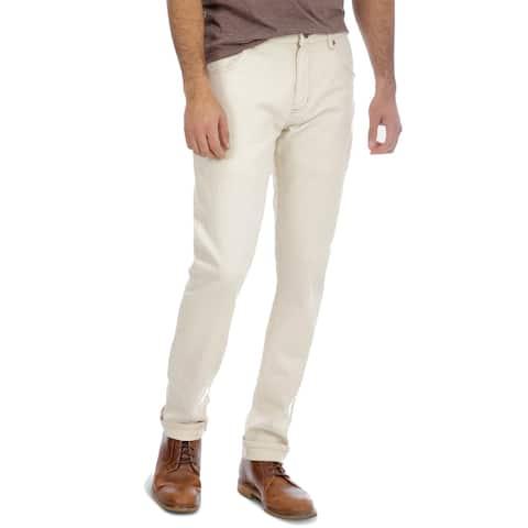 Wrangler Men's Slim Tapered Stretch Jeans, Beige, 33Wx34L - 33