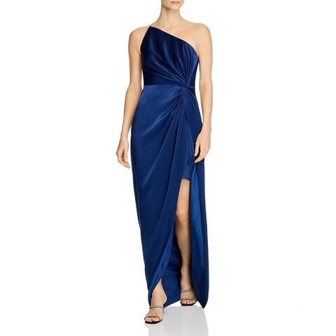 Aidan by Aidan Mattox Womens Formal Dress One Shoulder Side Slit - Navy