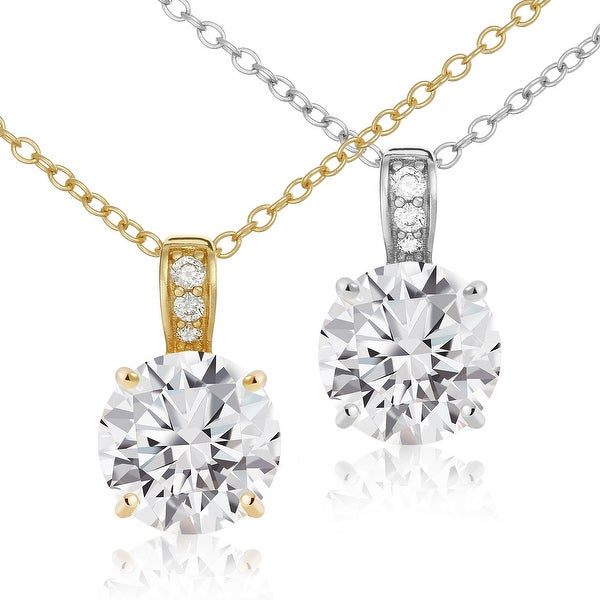 """Sterling Silver CZ Solitaire - Pave Bale Pendant Necklace 18""""- Lusoro. Opens flyout."""