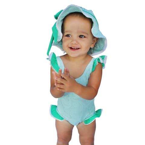 Azul Baby Girls Aqua Breakfast at Tiffany's Ruffle One Piece Swimsuit