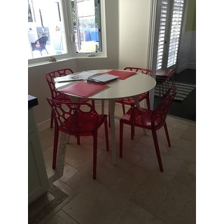 LeisureMod Cove Transparent Red Dining Chair