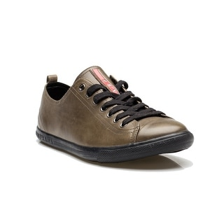Prada Men's Flat Leather Lace Up Sneaker Shoes Stone Olive
