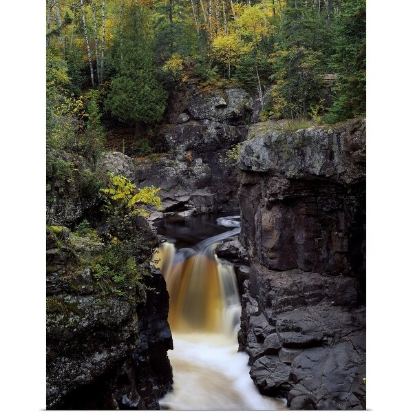 """""""Waterfall and black cliffs along Temperance River, Temperance River State Park, Minnesota"""" Poster Print"""