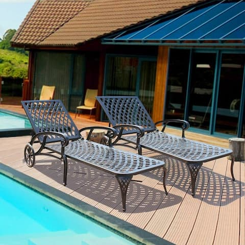 2-Piece Outdoor Pool Side Chaise Lounge