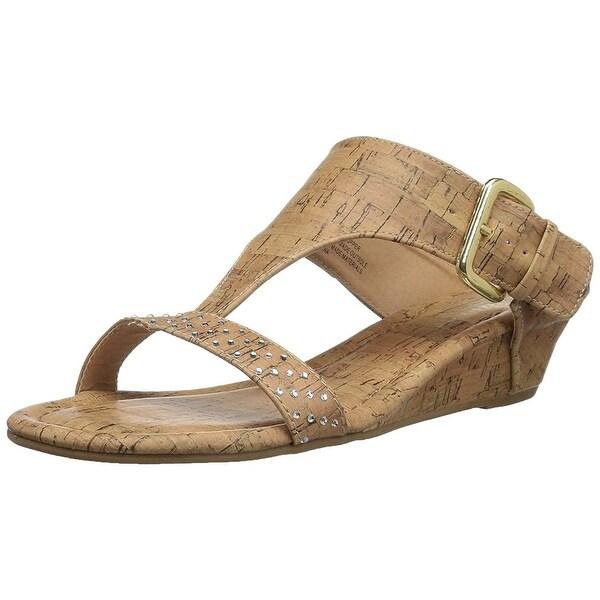 Rampage Women's Sheryl Demi Wedge T-Bar Slip-On Thong Sandal