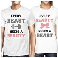 Every Beast Beauty Matching Couple Gift Shirts White For Newlyweds