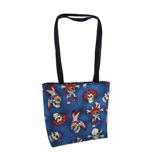 Blue `All Skulls` Print Bucket Bag Purse Gothic Creepy