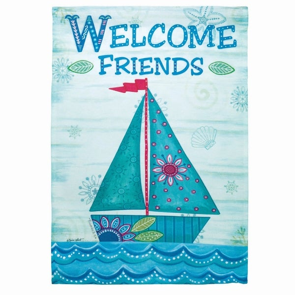 "Blue and Green Sailboat ""Welcome Friends"" Printed Outdoor Garden Flag 18"" x 13"" - N/A"