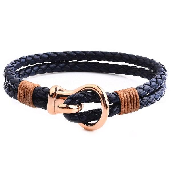 Men's Stainless Steel Hook Clasp Leather Bracelet (10mm Wide). Opens flyout.