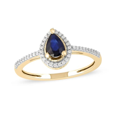 Blue Sapphire Gemstone 1/10ct Diamond Halo Ring in 10k Gold by De Couer