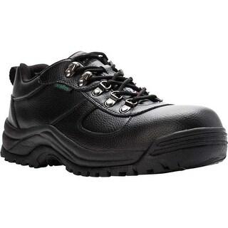 Propet Men's Shield Walker Low Safety Shoe Black Full Grain Leather