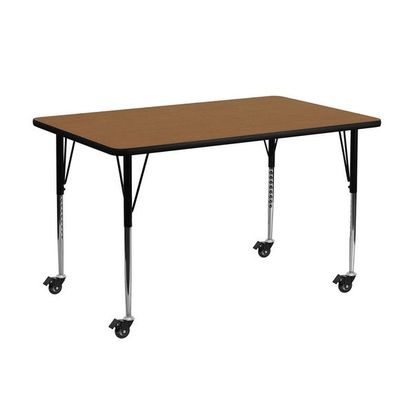 """Offex 30""""W x 72""""L Mobile Rectangular Activity Table with Oak Thermal Fused Laminate Top and Standard Height Adjustable Leg - N/A"""
