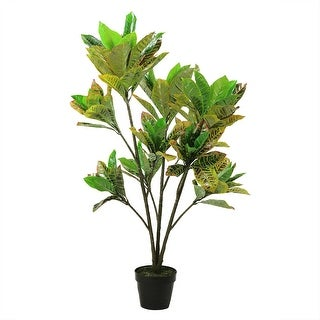 "45.75"" Decorative Potted Artificial Green, Yellow and Brown Croton Tree - Green"