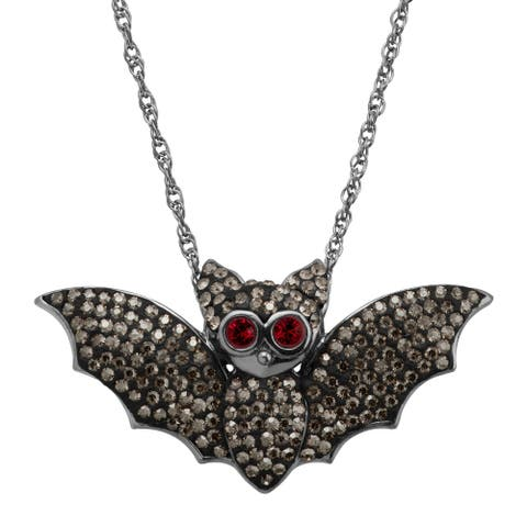 """Bat Pendant with Crystals in Black Rhodium-Plated Sterling Silver, 18"""" - White"""