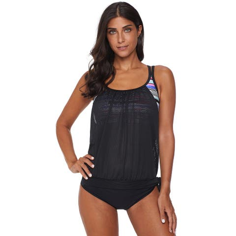 Cali Chic Women's Swimwear Two Piece Swimsuit Celebrity Black Layered Tankini Top with Brief Swimsuit