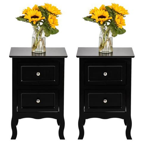 Country Style Black Two-Tier Night Tables Large Size (Set of 2)