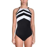Lauren Ralph Lauren Womens Chevron Full Coverage One-Piece Swimsuit