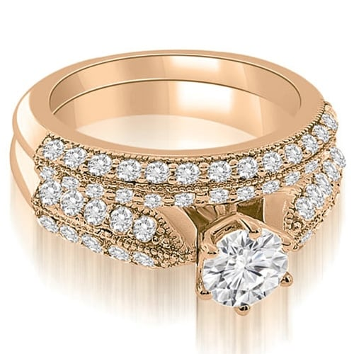 2.20 cttw. 14K Rose Gold Antique Cathedral Round Cut Diamond Bridal Set