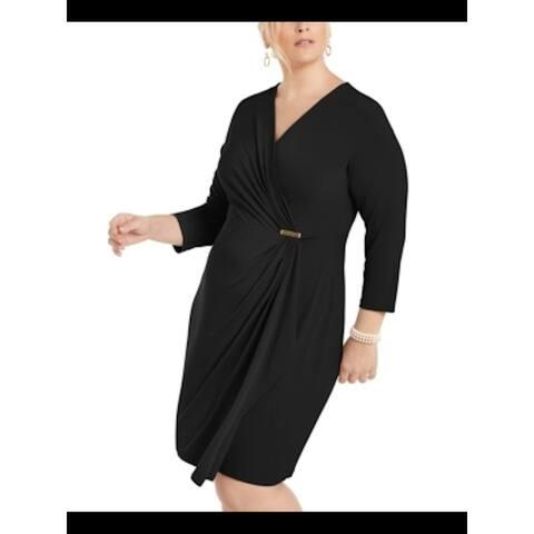 CHARTER CLUB Black 3/4 Sleeve Above The Knee Sheath Dress Size 1X