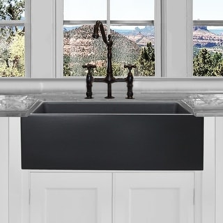 Highpoint Collection Reversible 33-inch Fireclay Farmsink Matte Black