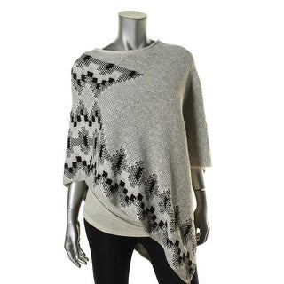 Two by Vince Camuto Womens Printed Knit Poncho