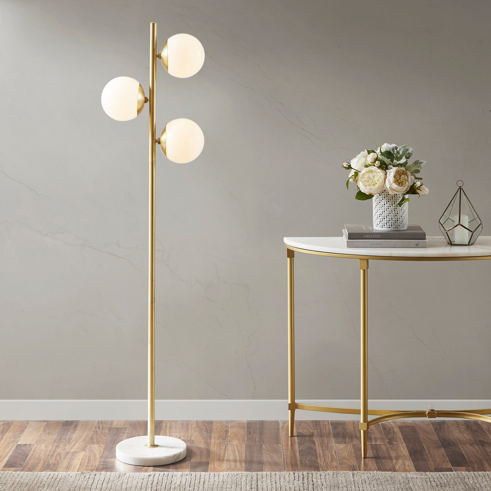 Holloway 62 Inch Floor Lamp With Round Shade By Ink Ivy On Sale Overstock 18653487 White Gold