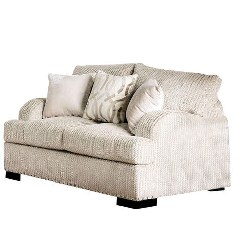 Loveseat with Saddle Arms and Nailhead Trim, Offwhite