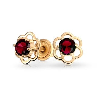 Minimalist Tiny Red CZ Open Flower Stud Earrings For Teen Cubic Zirconia Imitation Garnet 14K Real Gold Screwback