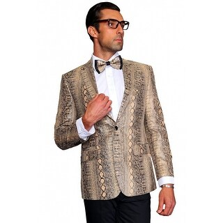 MZF-101 TAN Men's SLIM FIT Manzini Fancy 2 button SNAKE PRINT, sport coat.