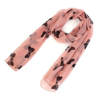 Unique Bargains Girls Chiffon Bow-knot Print Dual-use Wrap Stole Shawl Scarf Coral Pink