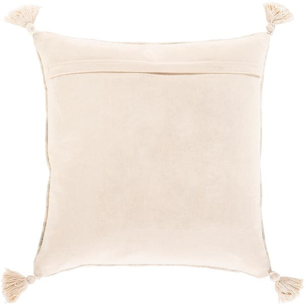 Deidra Handmade Beige Floral Tassel Cotton Throw Pillow On Sale Overstock 31488294