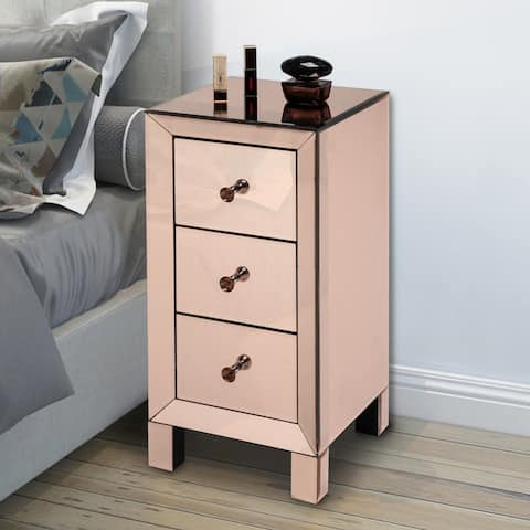 3 Drawers Nightstand Bedside Table Rose