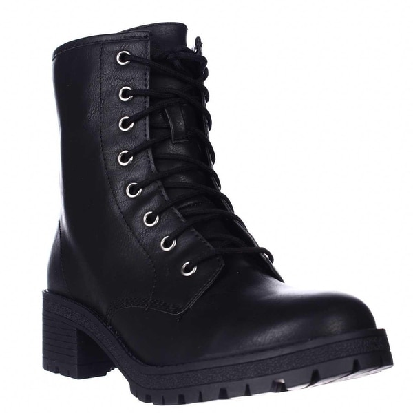 madden girl Eloisee Lace-up Combat Boots, Black