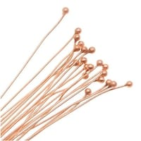 Genuine Copper 2mm Ball Head Pins - 24 Gauge Thick 3 Inches Long (20)