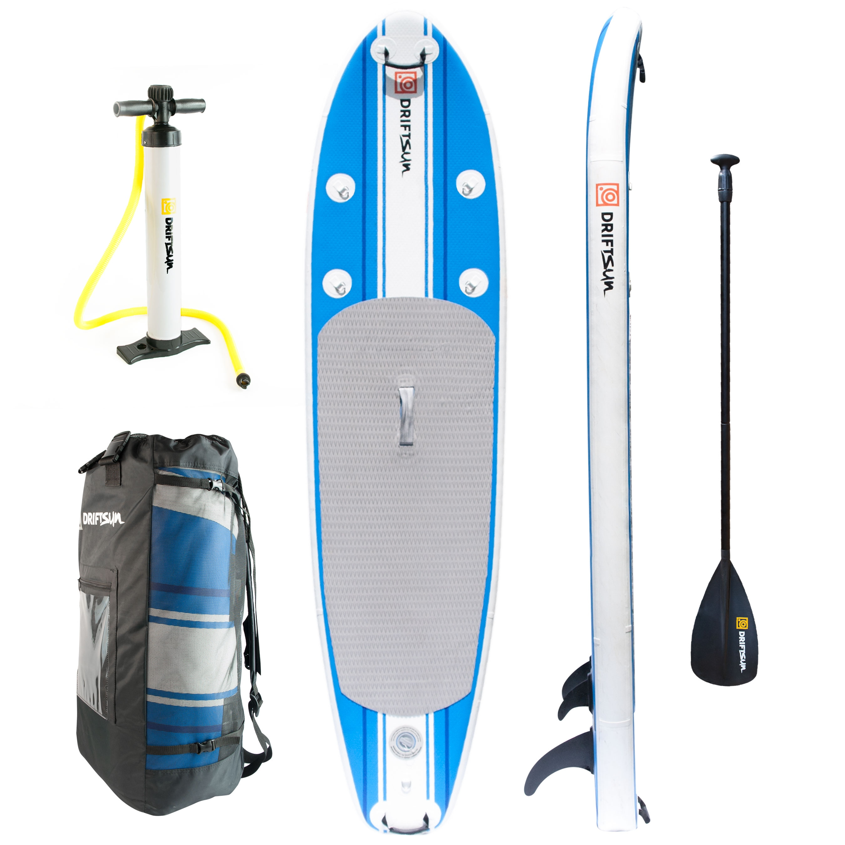 Driftsun SUP Inflatable 10' Stand Up Paddle Board Package. Everything Included: Board, Fins, Paddle, Pump and Carry Backpack