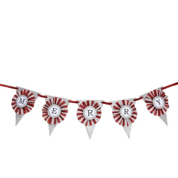 "36"" Decorative Silver and Red Glitter ""Merry"" Pennant Christmas Banner"