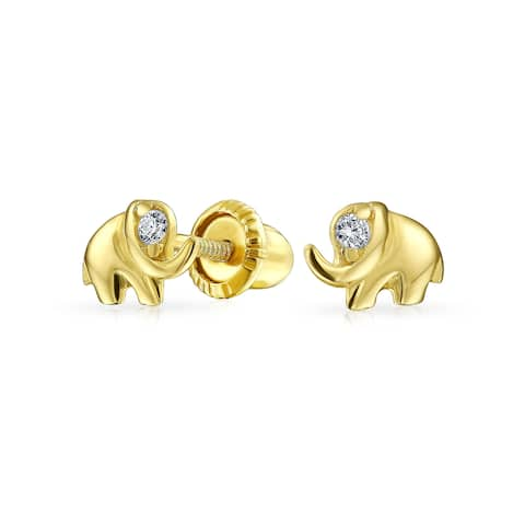 Tiny Minimalist CZ Accent Lucky Elephant Stud Earrings For Women For Teen Real 14K Gold Screwback