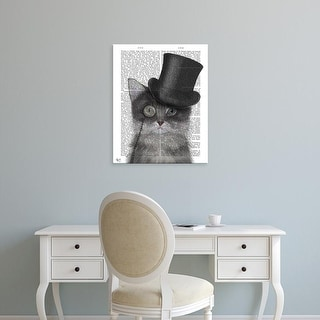Easy Art Prints Fab Funky's 'Cat, Grey with Top Hat' Premium Canvas Art