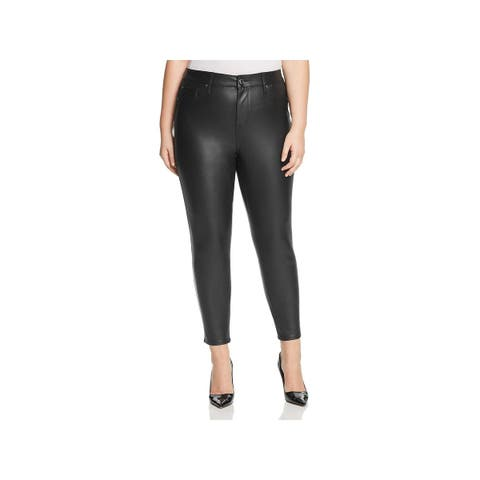 Seven7 Womens Plus Colored Skinny Jeans Faux Leather Mid-Rise - 18W