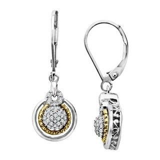 1/5 ct Diamond Drop Earrings in Sterling Silver & 14K Gold