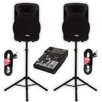 "Technical Pro PVOLT15 Powered 3000 Watt 15"" Speakers with Mixer & Stands DJ Set"