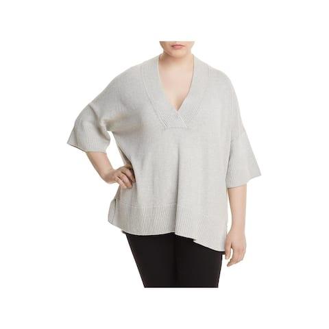 Lafayette 148 New York Womens Plus Pullover Sweater Silk Ribbed Trim