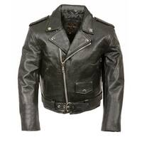 Kids Leather Traditional Style Motorcycle Jacket