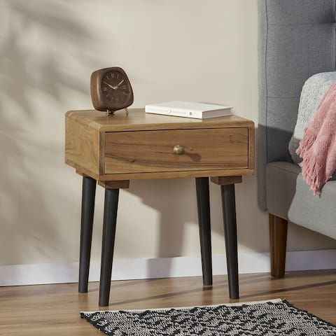Uvalda Indoor Wood Handcrafted Side Table with Drawer by Christopher Knight Home