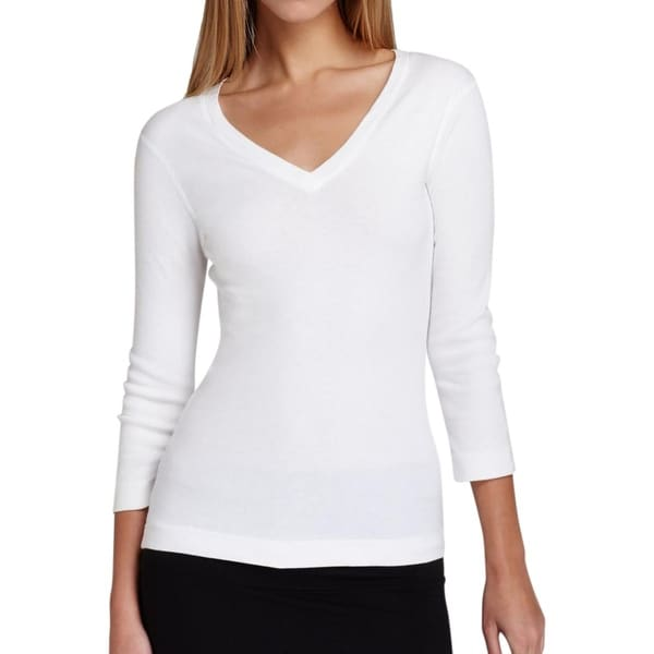 Three Dots Womens Pullover Top Stretch 3/4 Sleeves