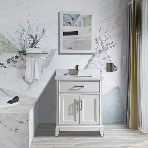 "Vanity Art 24"" Single Sink Bathroom Vanity Set Phoenix Stone Top 1 Drawer, 1 Shelf Undermount Sink Vanity Cabinet with Mirror"