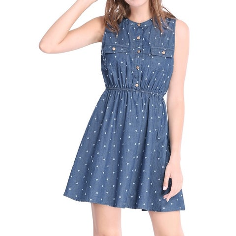 Allegra K Women Sleeveless Polka Dots Elastic Waist Denim Above Knee Dress